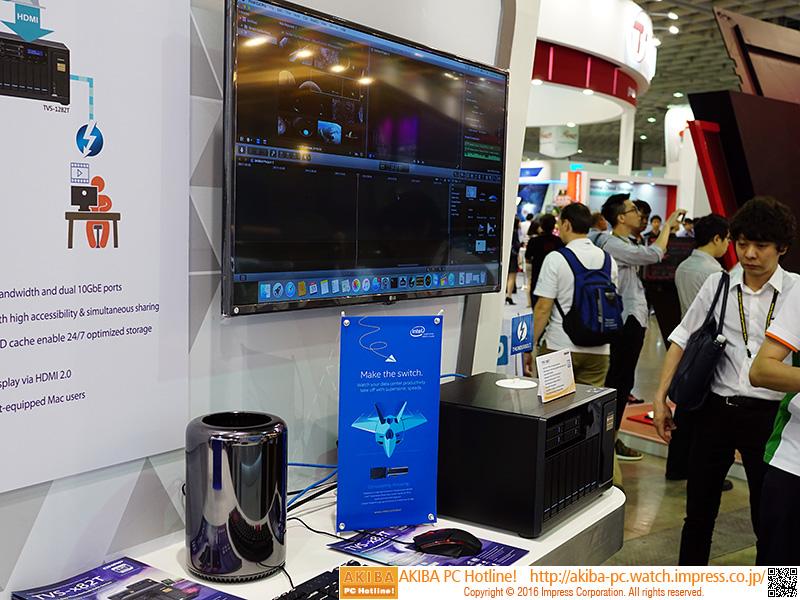 Thunderbolt 2で接続したMac Proからアクセスして動画を再生するデモも行われえていた。