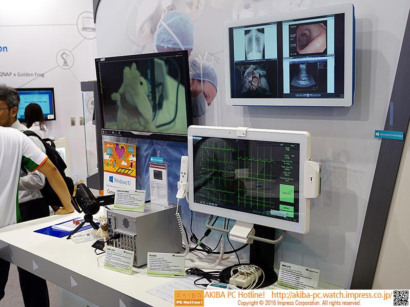 4k出力機能を利用して医療用の緻密な情報を表示するデモ。各種測定機器も接続している。