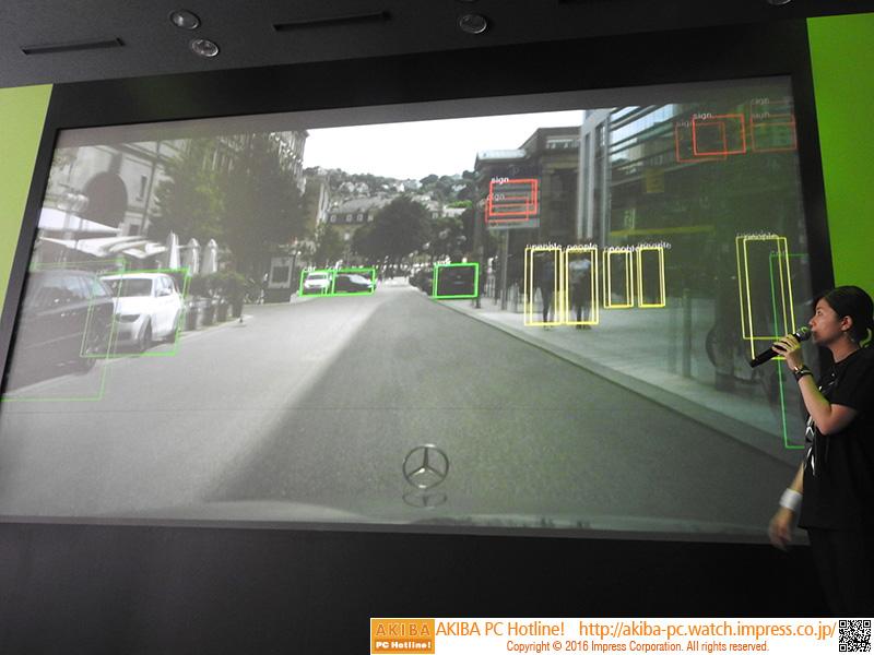 自動運転のデモ。画像からリアルタイムに他の車や歩行者、信号を見分けている