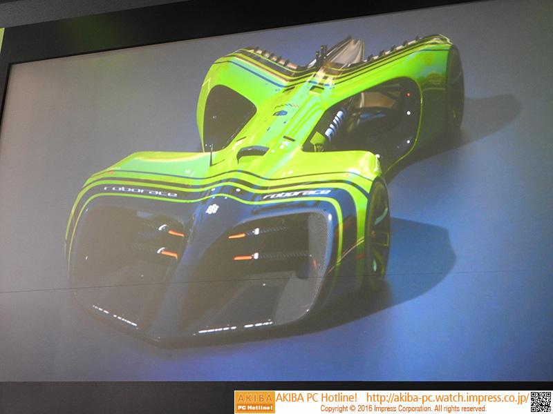 自動運転カーレースに出場予定のカーデザイン。ドライバーが乗るスペースは用意されていない
