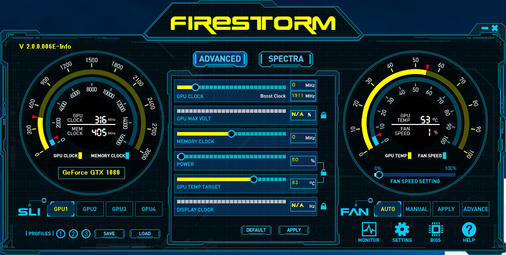 FireStormの「Power」の項目がPower Targetの設定項目。