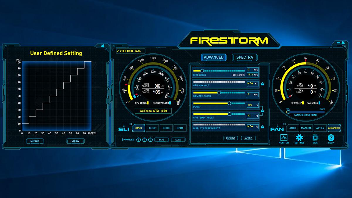 ZOTAC独自ユーティリティの「Fire Strom」。この世代からはファンの回転速度のカスタマイズの自由度がさらに向上しているという。