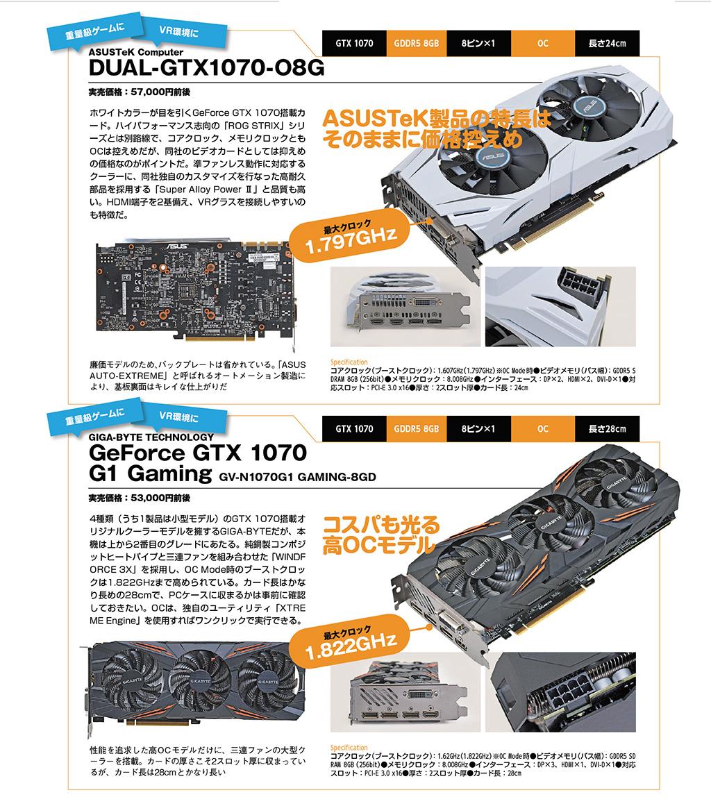 ASUSTeK Computer DUAL-GTX1070-O8G / GIGA-BYTE TECHNOLOGY GeForce GTX 1070 G1 Gaming GV-N1070G1 GAMING-8GD