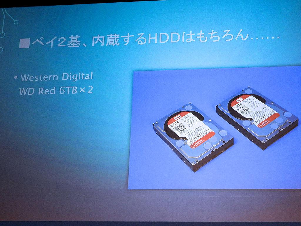 内蔵するHDDはもちろんWestern Digitalの「WD Red」6TB×2である
