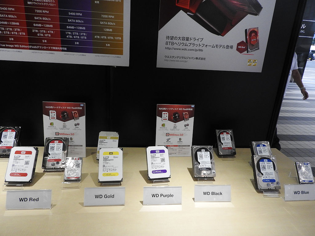 Westren DigitalのHDD製品が色別に展示されていた