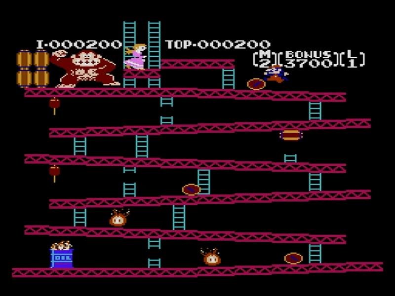 1面。樽をジャンプしながら画面上部のレディを目指す。