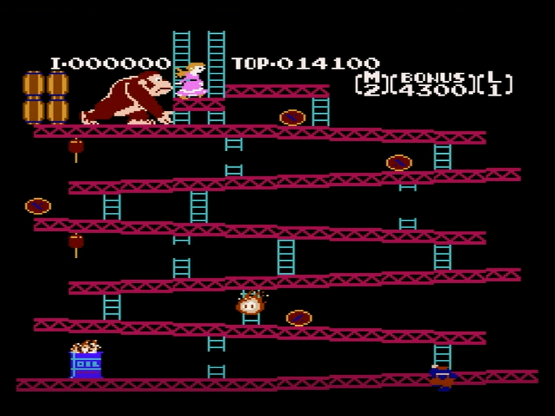 1面の一段目奥の階段付近で下に十字ボタンを押す(はしごを降りる)と、はしごが無いにも関わらず画面下に降りていき、そのまま十字ボタンの下を押し続けると画面上からマリオが降りてくる。そうして最上段にたどり着いたら、普通にクリアすることも可能。うまくできればクリア時間短縮も。