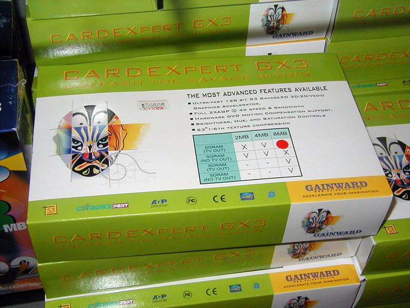 CARDEX(Gainward)製のSavage 3D搭載カード。SavageシリーズはS3のビデオチップ「ViRGE」シリーズの後継として開発されたもので、Savage 3Dは最初のモデルでした。
