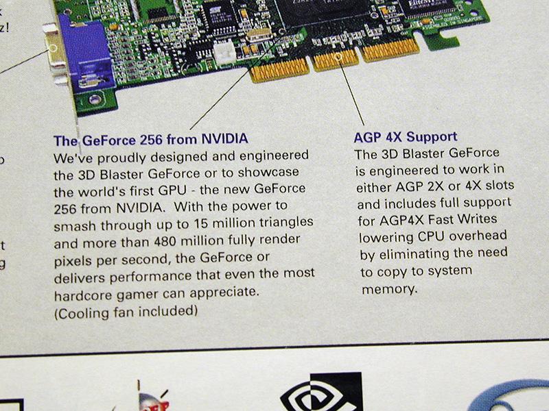 """RIVAの後継であるGeForceがNVIDIAから登場。GeForce 256はこれまでCPUが行っていた3D処理をビデオチップが行う「ハードウェアT&L」を搭載しており、""""GPU""""を名乗った最初の製品となりました。"""