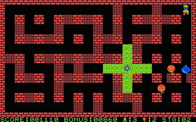 こちらは、実際のゲーム画面です。見た目がとてもシンプルで、全体的な処理速度も速いです。なお、これはPC-8001mkII版ですが、他機種版は画面がもっと綺麗だったりと、ハードの特性を活かした見た目になっています。