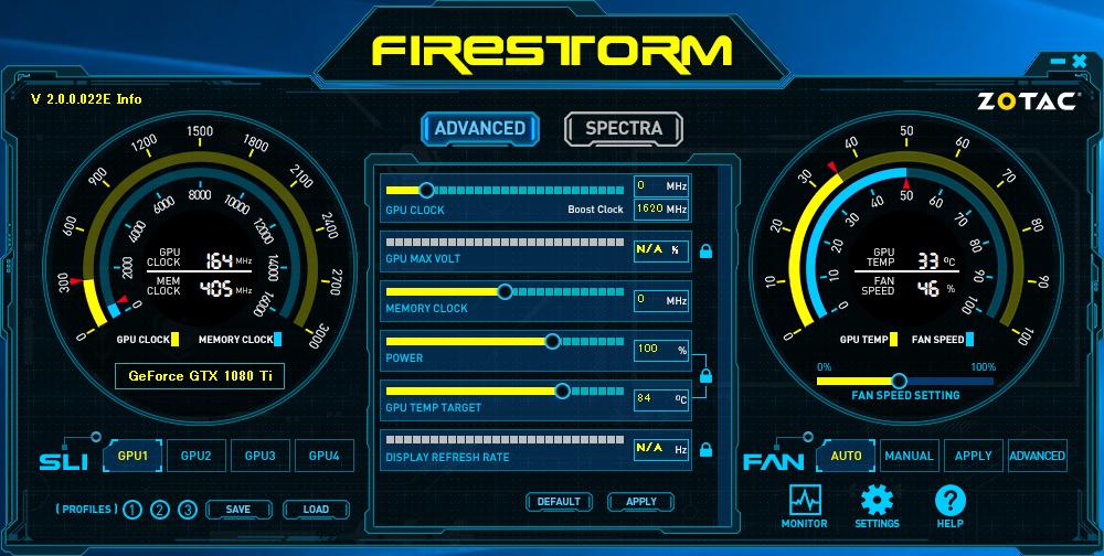ZOTACのGPUユーティリティ「FIRESTORM」が利用できる