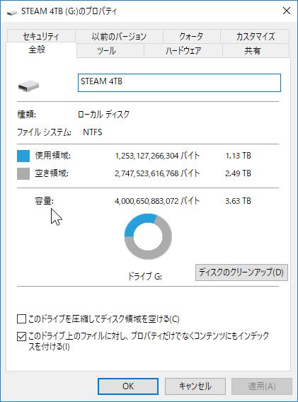 現在のHDD使用量は約1.13TB