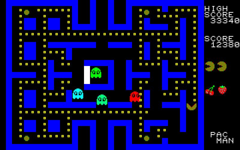 この画面は、PC-8001mkII版のもの。アーケード版と違い、ステージは横倒しに配置されています。モンスターのアルゴリズムなどは、機種ごとにアーケード版に近かったり遠かったりと様々でした。パックマンの黄色が、緑と赤で上手に(?)作られているのがわかります。