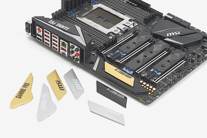発光機能とは関係ないが、X399 GAMING PRO CARBON ACにはチップセット用ヒートシンクなどにかぶせるカバーを交換することができる。発光機能はハデなのに基板が黒系で味気ないと感じるなら、交換してみるのもおもしろいかもしれない