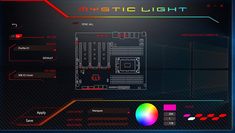マザー上のLEDとLEDテープの発光制御はWindows上で動作する「Mystic Light」で集中管理する