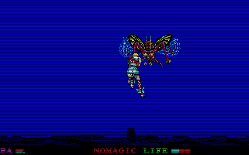 こちらは、空中でのデカキャラとのバトルです。上下左右に移動しながら相手を待ち、敵が突っ込んできたところでタイミング良くスペースキーを押して剣を振るとダメージを与えられます。