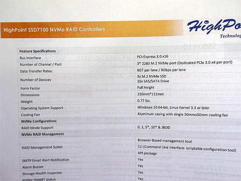 3基のNVMe SSDと16台の12Gbps SAS-HDDを接続可能