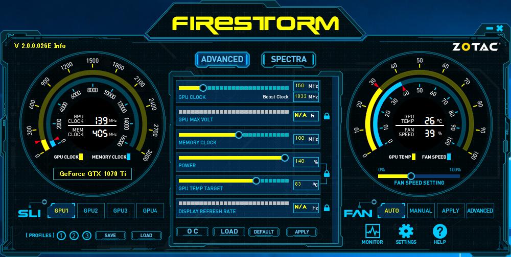ZOTACのGPUユーティリティ「FireStorm」。専用の設定ファイルをロードすれば、One-Click OCによりメーカー保証済みのオーバークロック動作が可能となる