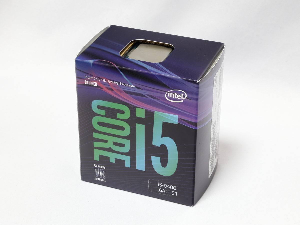 CPUのCore i5-8400。Coffee Lake世代の6コアCPUで、コストパフォーマンスの高い人気のCPUだ。