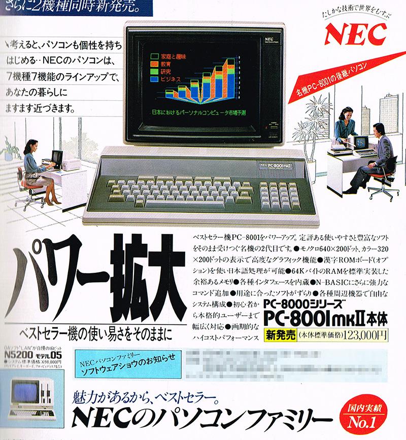 ほぼ同時期に発売されたPC-8001mkIIとセットで広告に掲載されることが多かったです。隣に掲載されているPC-8001mkIIが123,000円でしたが、果たしてPC-8201の標準価格138,000は高かったのか、安かったのか……。