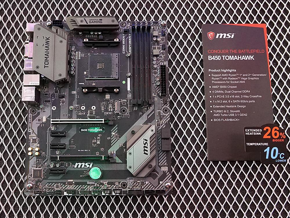 B450搭載マザーボード「B450 TOMAHAWK」。ゲーム向けモデルで、M.2やUSB 3.1 Gen2をサポート。CPUやメモリ不要でBIOSをアップデートできる「BIOS FLASHBACK+」を搭載