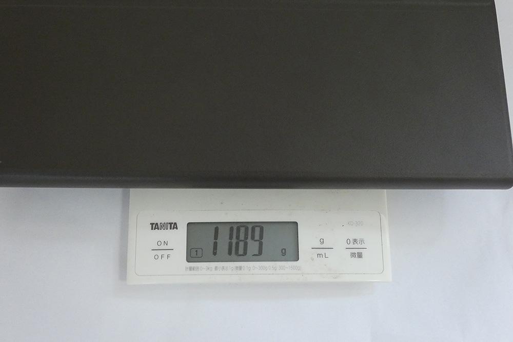 キーボードカバー込みの重量は、実測で1,189g。