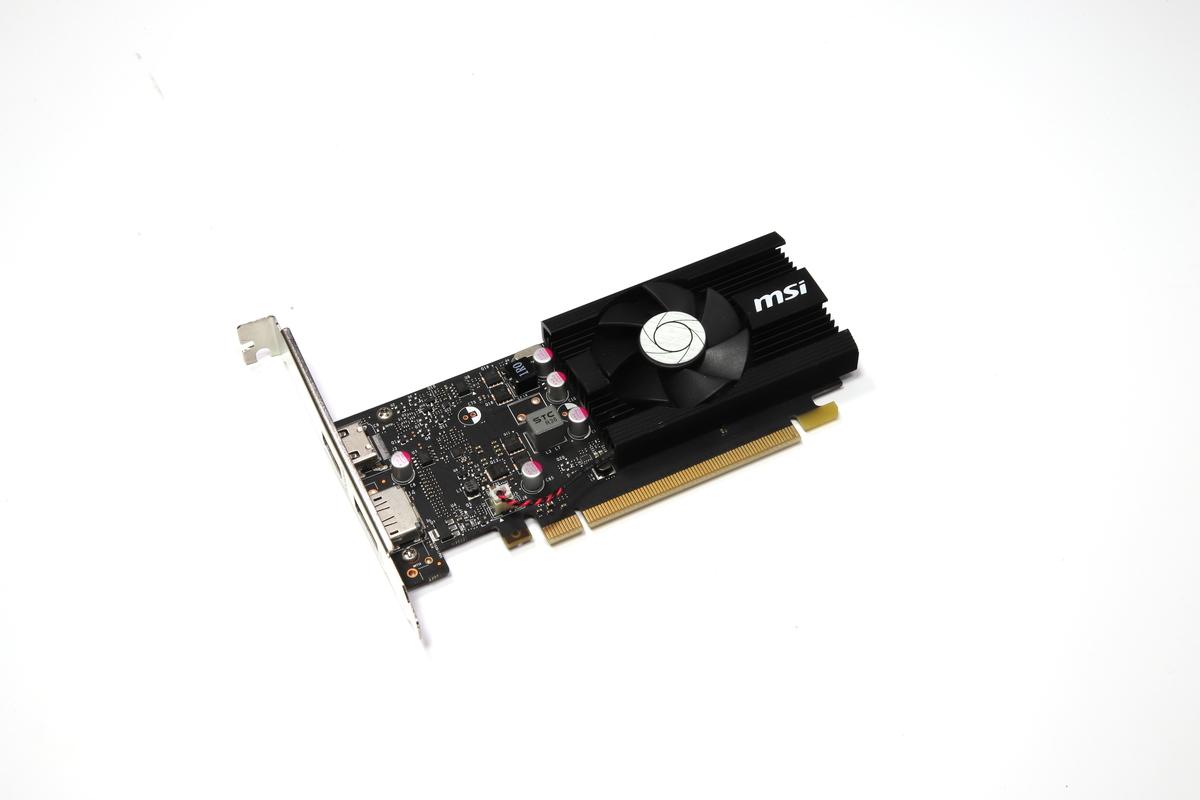 エントリーGPUのGeForce GT 1030を搭載した「MSI GeForce GT 1030 2G LP OC」。VRAM容量は2GB。