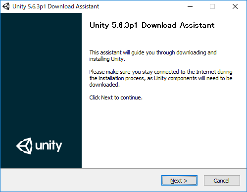 Unityのインストールウィザード。特に設定を変更する必要はないので、画面の指示に従ってインストールを進めよう。
