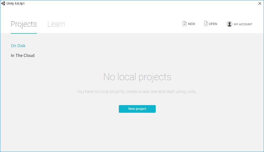Unityのスタート画面。右上の「New」をクリックして新規プロジェクトの作成画面を開く。