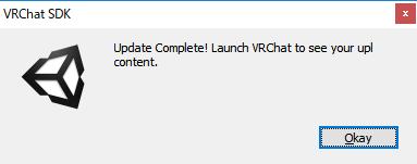 アップロード完了通知。これが表示されたら、VRChat上でアップロードしたアバターが利用できる。