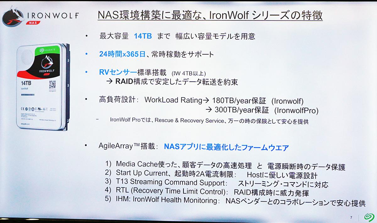 NAS向けにチューニングされたファームウェア「AgileArray」を採用。大きく分けて5つの機能を備えている。