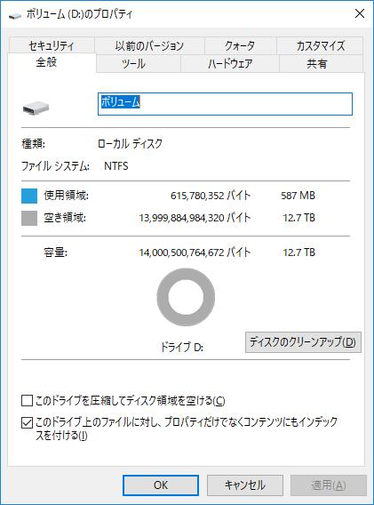 NTFSでフォーマットした状態。Windowsは記憶容量を2進接頭辞で計算するため、14TB HDDの利用可能な容量は12.7TBとなる。