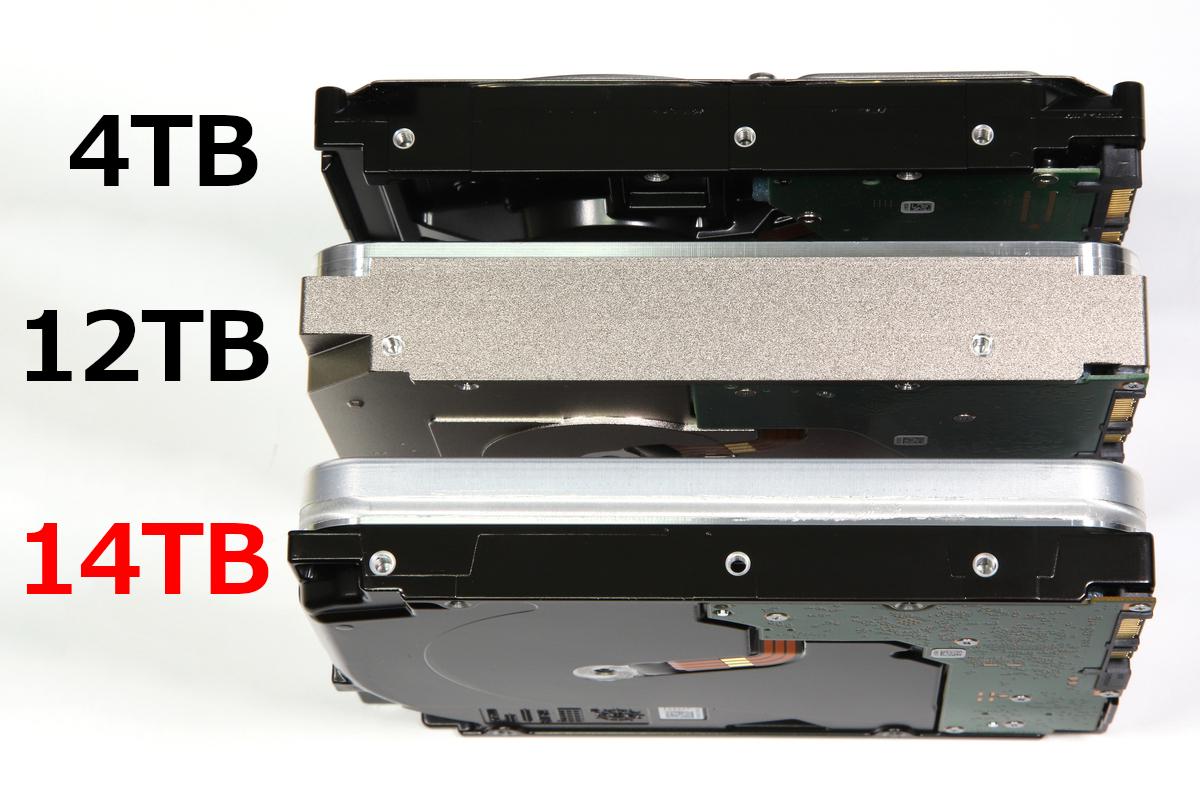 本体側面。手前からST14000VN0008、従来のヘリウム封入HDD(ST12000VN0007)、標準的なHDD(ST4000DM004)。