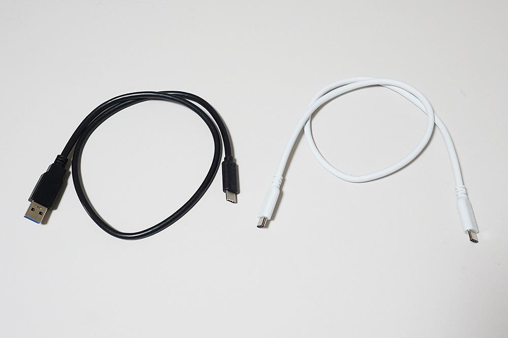 付属のUSB 3.1 Gen2 Type-A - Type-Cケーブルと、別途用意したUSB 3.1 Gen2 Type-C - Type-Cケーブル(ナカバヤシ ZUH-CC3205W)でテスト。