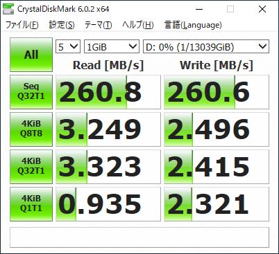 CrystalDiskMarkの実行結果。HDDとしては最高クラスの性能を実現している。