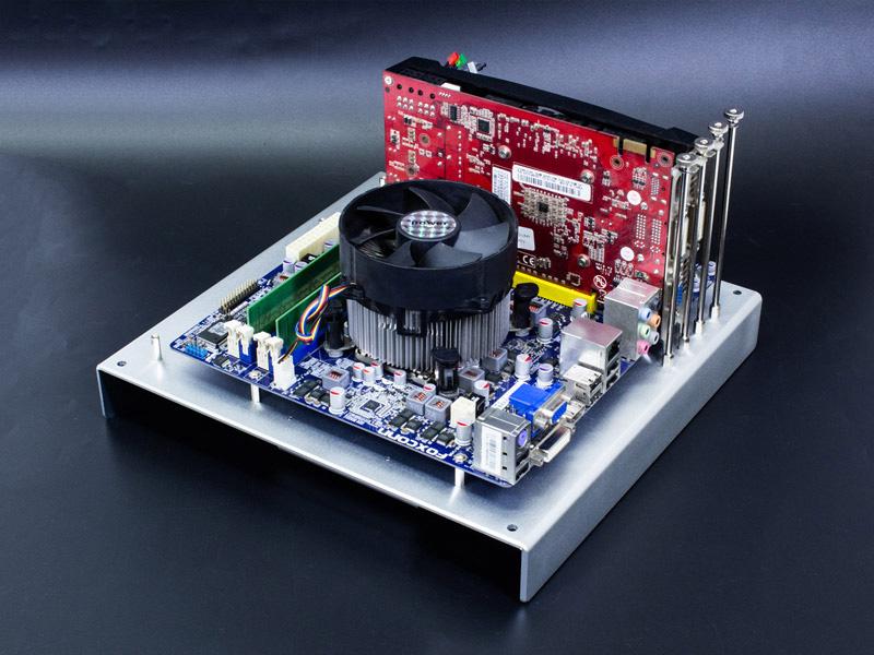 microATXアルミPCチェック台 シルバーの使用例