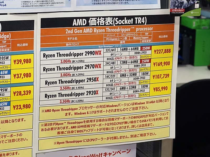 第2世代「Ryzen Threadripper」は最上位の2990WXが値上がりしたものの、全体的には値下がりが目立つ