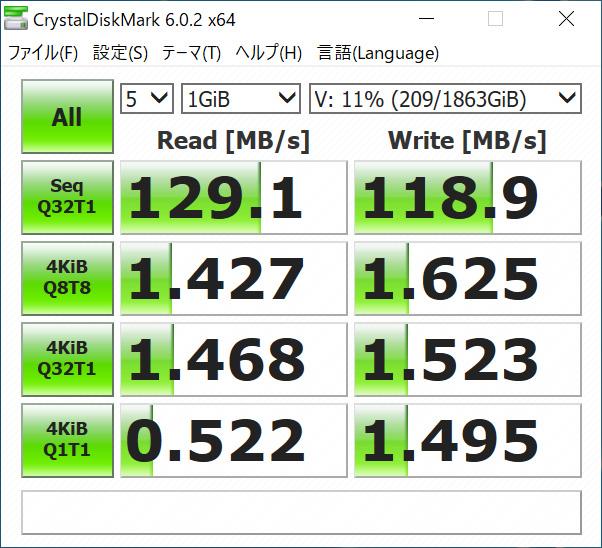 2.5インチHDD(WD20SPZX)の測定値(マザーのSATAに接続)