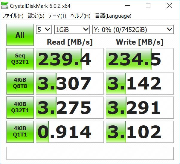 3.5インチHDD(ST8000VN0022)の測定値(マザーのSATAに接続)