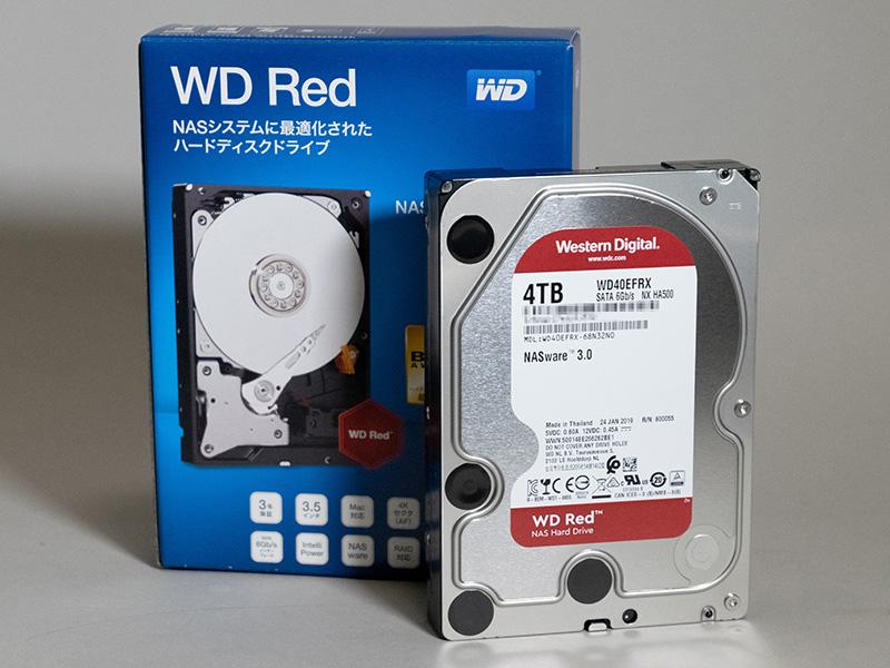 DS918+にはWestern Digital製「WD40EFRX」を4基組み込むことにした