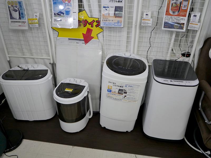 2階にはさらに白物家電系、コンパクトな洗濯機などの展示も
