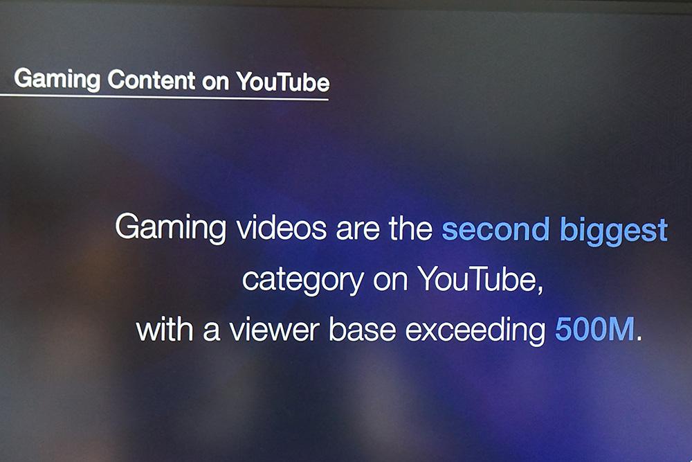 YouTubeではゲーミング関連の動画が2番目に大きなカテゴリーとなっており、毎日2億人が視聴しているという。