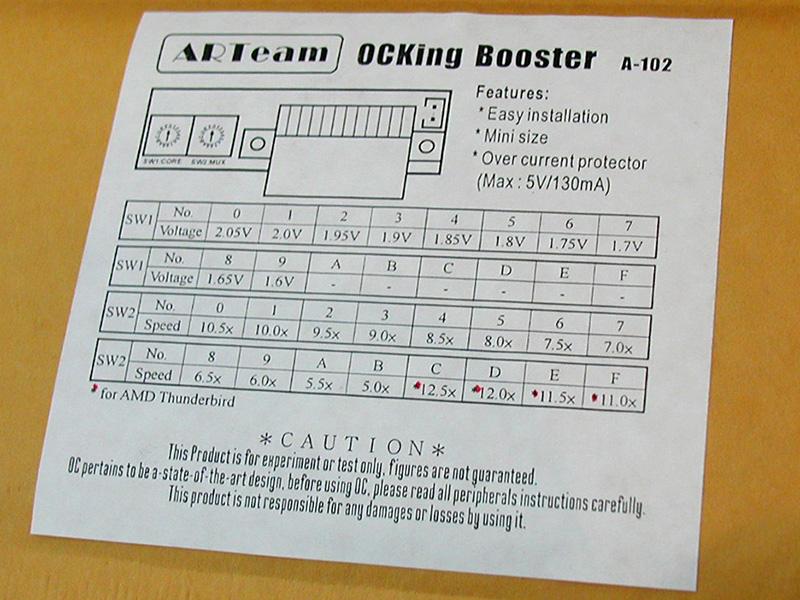 Slot A用Athlonのクロック倍率と電圧を変更するオーバークロックツール。オーバークロックしやすいとされる製造ロットが話題になるとともに、こういったツールも人気となりました(撮影協力:ソフトアイランド秋葉原店、OVERTOP)