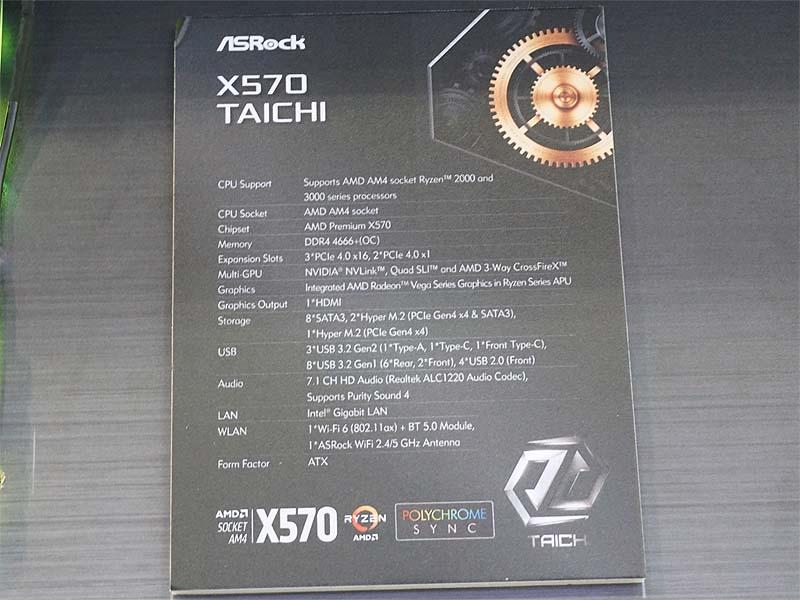 X570 Taichiの主な仕様。PCIe 4.0 x16スロットを3基とPCIe 4.0 x1スロットを2基搭載し、PCIe 4.0 x4接続のHyper M.2も3基搭載する