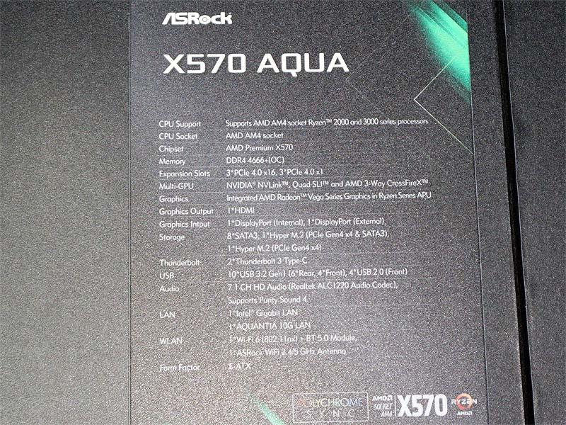 X570 AQUAの主な仕様。Thunderbolt 3に加え、10Gbit LANやWi-Fi 6にも対応。フラッグシップモデルの名に恥じない豪華仕様だ