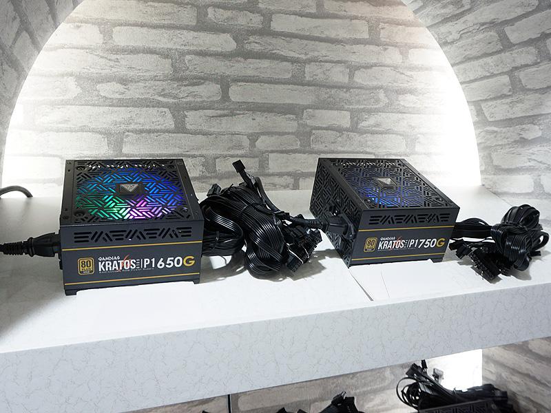 左が650W電源ユニットの「KRATOS P1-650G」。右が750W電源の「KRATOS P1-750G」。どちらも80PLUS GOLD認証を取得している