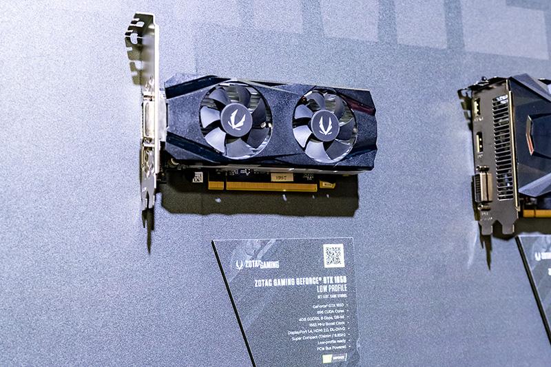 近日正式な発表が予定されているという「ZOTAC GAMING GeForce GTX 1650 LOW PLOFILE」。GeForce GTX 1650を搭載したロープロファイルの製品。担当者は日本でも発売したいと話していた