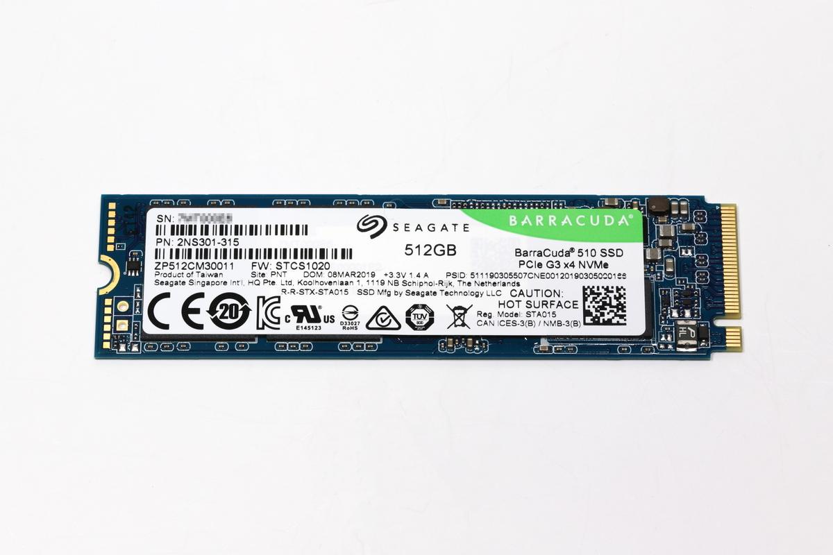 BarraCuda 510 SSDの512TBモデル。M.2タイプのNVMe SSDで、インターフェイスはPCIe 3.0 x4。端子はKey M、カード長は80mm。