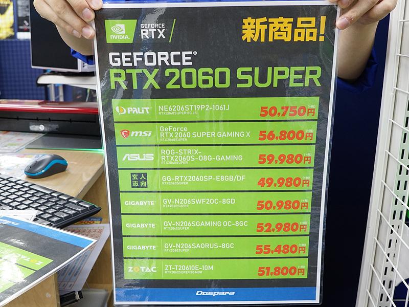 GeForce RTX 2060 SUPERの価格