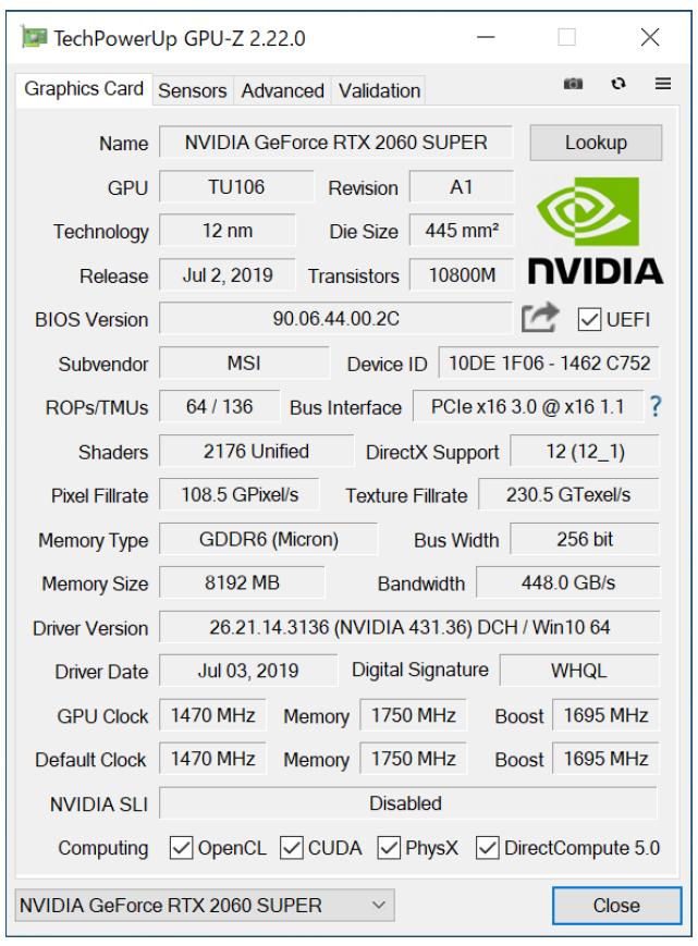GPU-Zの画面。OCモデルの本機のブーストクロックは、リファレンス仕様の1,650MHzに対して1,695MHzに設定されている